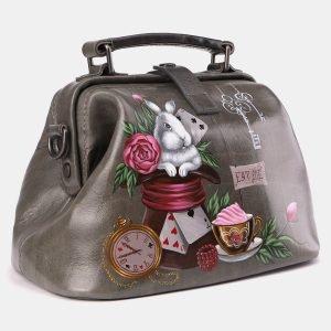 Вместительная серая сумка с росписью ATS-3968 225320