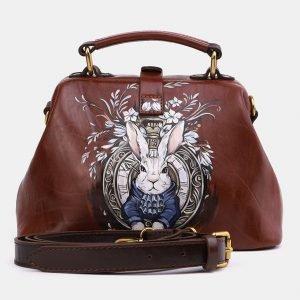 Удобная светло-коричневая сумка с росписью ATS-3969