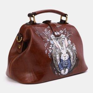 Удобная светло-коричневая сумка с росписью ATS-3969 225315