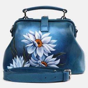Солидная зеленовато-голубая сумка с росписью ATS-3974