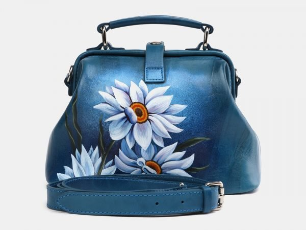 Вместительная зеленовато-голубая сумка с росписью ATS-3974