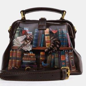 Солидная коричневая сумка с росписью ATS-3975