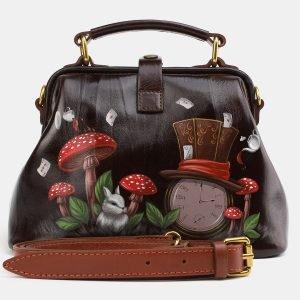 Функциональная коричневая сумка с росписью ATS-3976