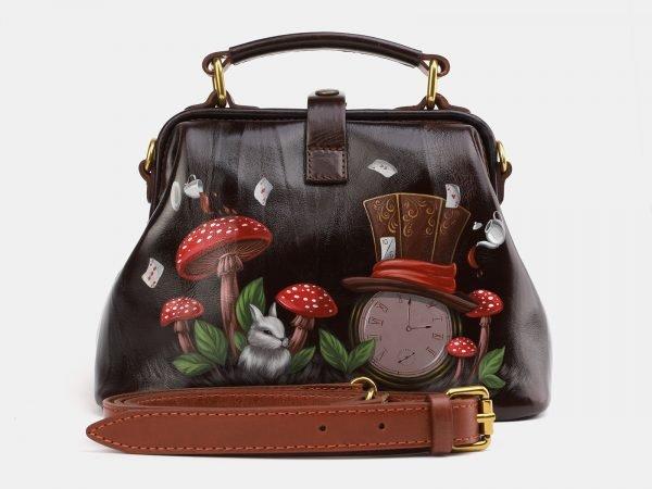 Неповторимая коричневая сумка с росписью ATS-3976