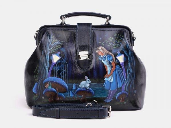 Неповторимая синяя сумка с росписью ATS-3997