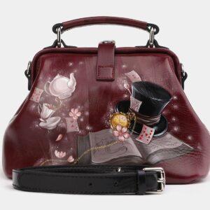 Кожаная бордовая сумка с росписью ATS-4005