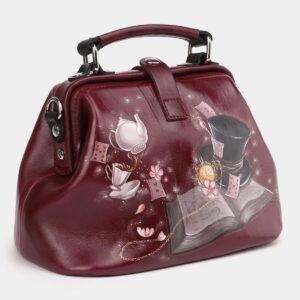 Кожаная бордовая сумка с росписью ATS-4005 227008