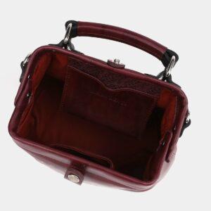 Кожаная бордовая сумка с росписью ATS-4005 227010
