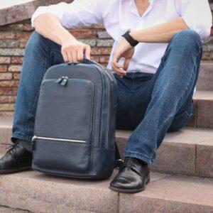 Солидный синий мужской деловой рюкзак BRL-45821 226901