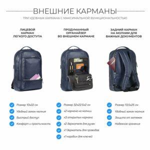 Солидный синий мужской деловой рюкзак BRL-45821 226895