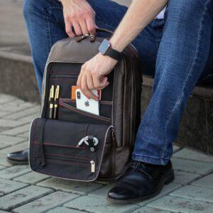Модный коричневый мужской деловой рюкзак BRL-45820 226887