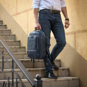 Солидный синий мужской деловой рюкзак BRL-45821 226921