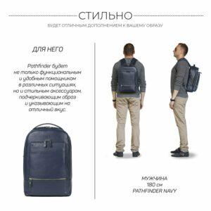 Солидный синий мужской деловой рюкзак BRL-45821 226923