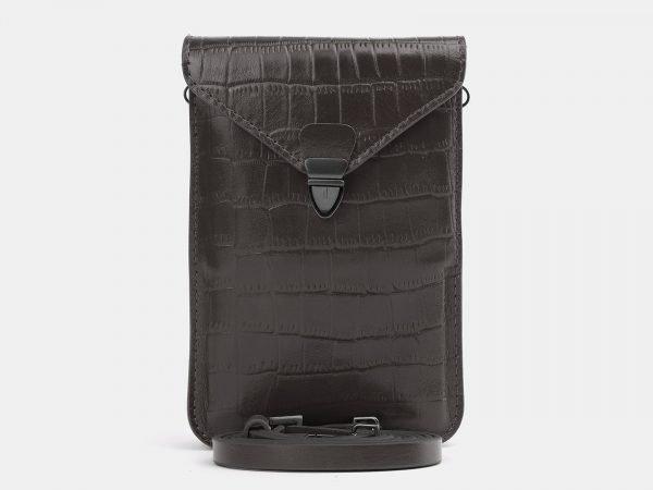 Кожаный серый женский клатч ATS-3985