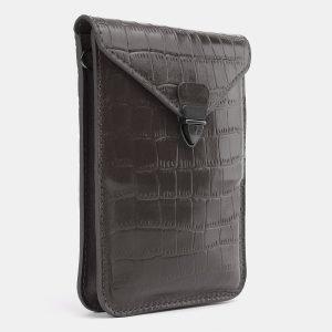 Кожаный серый женский клатч ATS-3985 225566