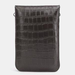 Кожаный серый женский клатч ATS-3985 225567
