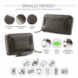 Кожаный коричневый мужской портмоне клатч BRL-28614 228610