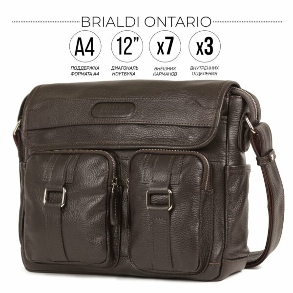 Удобная коричневая мужская сумка через плечо BRL-12996