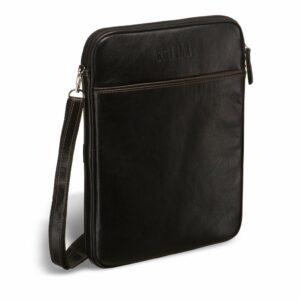 Кожаная черная мужская сумка мессенджер BRL-1022