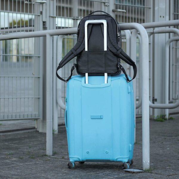 Кожаный черный мужской деловой рюкзак BRL-45818