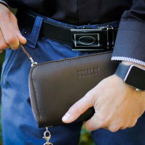 Солидный коричневый мужской портмоне клатч BRL-19842 228159