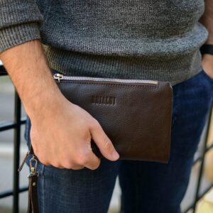 Кожаный коричневый мужской портмоне клатч BRL-32928 228825