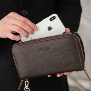 Неповторимый коричневый мужской портмоне клатч BRL-44371 229174