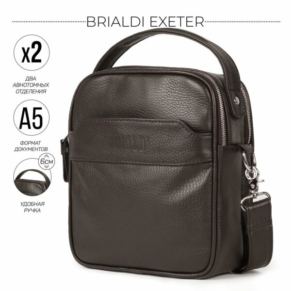 Удобная коричневая мужская сумка через плечо BRL-34400