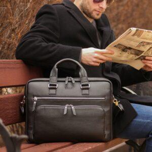Кожаный черный мужской портфель деловой BRL-44548 227287