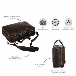 Функциональная коричневая дорожная сумка портфель BRL-23117