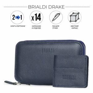 Уникальный синий мужской портмоне клатч BRL-23098