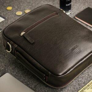 Кожаная коричневая мужская сумка через плечо BRL-19878 228235