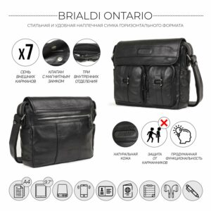 Стильная черная мужская сумка через плечо BRL-12995 227151