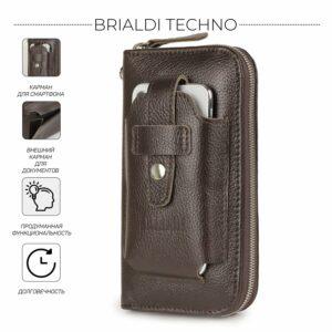 Кожаный коричневый мужской портмоне клатч BRL-32934