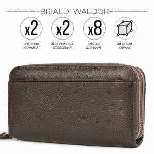 Кожаный коричневый мужской портмоне клатч BRL-32926