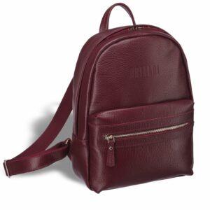 Кожаный бордовый женский городской  рюкзак BRL-17482