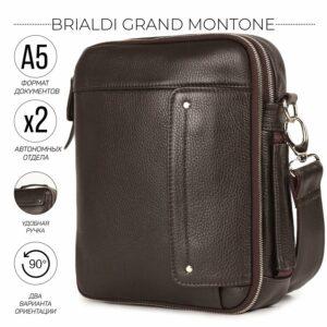Кожаная коричневая мужская сумка через плечо BRL-19878