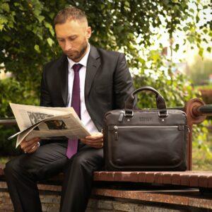 Уникальный коричневый мужской портфель деловой BRL-34104