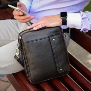 Кожаная коричневая мужская сумка через плечо BRL-19878 228225
