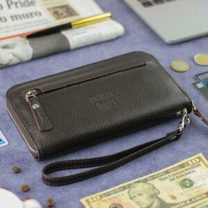Деловой коричневый мужской портмоне клатч BRL-28618 228648