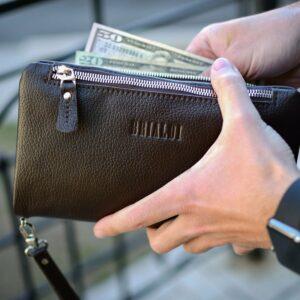 Кожаный коричневый мужской портмоне клатч BRL-32928 228823