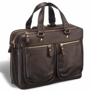Стильный коричневый мужской портфель деловой BRL-19860
