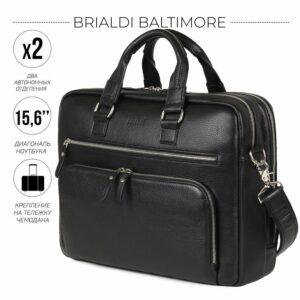 Кожаный черный мужской портфель деловой BRL-44548