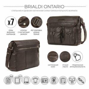 Удобная коричневая мужская сумка через плечо BRL-12996 227192