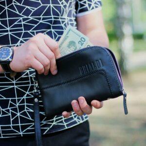 Кожаный черный мужской портмоне клатч BRL-1516 227575