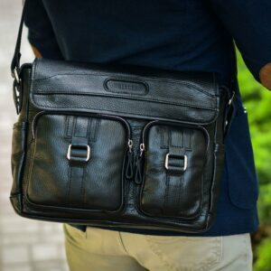 Стильная черная мужская сумка через плечо BRL-12995 227158