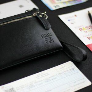 Кожаный черный мужской портмоне клатч BRL-1516 227573
