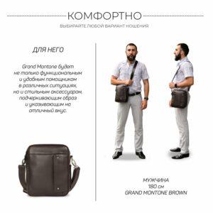 Кожаная коричневая мужская сумка через плечо BRL-19878 228241