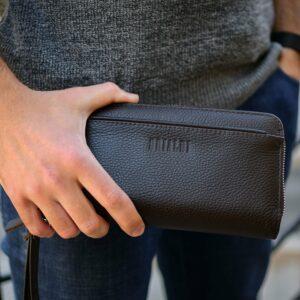 Кожаный коричневый мужской портмоне клатч BRL-32920 228756