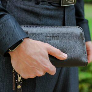 Кожаный коричневый мужской портмоне клатч BRL-28614 228620